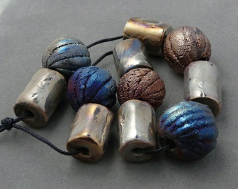 Raku Bead Set Of Eleven
