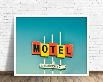 "retro sign, neon sign, mid century modern, vintage sign, large art, large wall art, canvas art, large canvas art, art - ""Air Conditioned"""