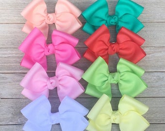 Set of 8 Large Hair Bows,Spring/Summer Colors,2 Inch Wide Ribbon,French Barrettes,5-5.5 Inches Wide,Ready to Ship!