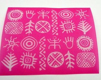 Tribal Silkscreen for Polymer clay, Paper Crafts, painted patterns on smooth surfaces