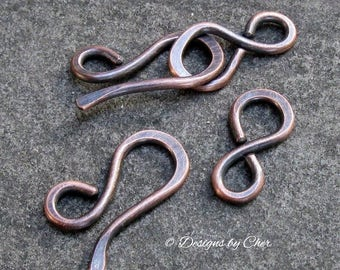 Handmade (14ga) Rustic Copper Hook & Eye Clasps, Hammered Metalwork Findings... MTO Jewelry Clasps