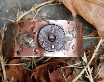 Laboradite, copper, steel and silver cuff