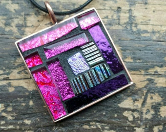 Purple Hot Pink Log Cabin Quilt Block Mosaic Pendant with Copper Bezel