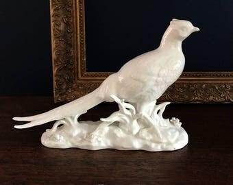 Beautiful vintage pure white porcelain pheasant