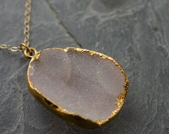 Pink Druzy Necklace. Rosy Pink Druzy Quartz. Drusy Gemstone Gold Necklace. Gold Petal Pink Pendant.