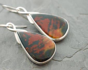 Blood Stone Sterling Silver Earrings. Bloodstone Earrings. Teardrop Jewelry. Cabochon Jewelry. Orange Red Gemstone Jewelry