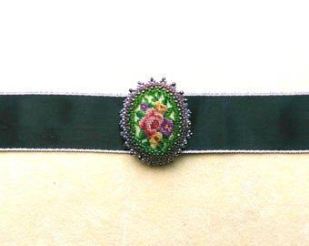 Beadwoven Beaded Floral Choker Necklace . Cross Stitch Green and Red Flower Pendant . Beadwork - Black Silk Choker by enchantedbeads on Etsy