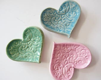Set of 3 Heart Shaped Ring Dishes, Ready to ship, Pastel hues, Green blue and pink