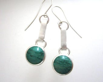 Parrot Wing Chrysocolla Cabochon Sterling Silver Earrings, Green Stone Earrings, Green and sterling Dangling earrings