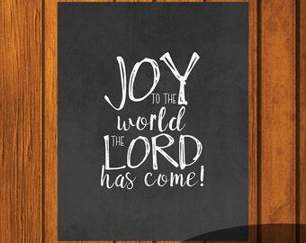 Christmas Chalkboard Printable / Joy To The World / Holiday Printable / Christmas Art / 8x10 / Chalkboard Art
