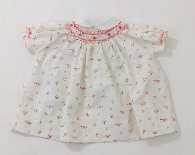 Vintage Smocked Heirloom Baby Dress with Rosebud Print,  Peter Pan Collar, Nathan Krauskopf Co. Size 6 - 12 Months