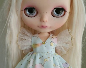 PREORDER Blue or Pink, you choose Twin Angel Wing dress for Blythe and Pullip