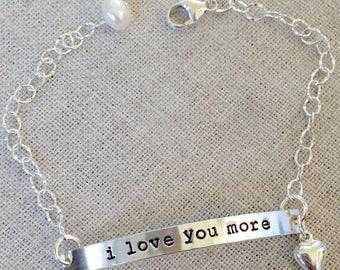 i love you more bracelet - sterling silver and adjustable