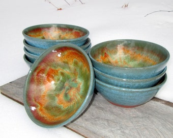 Handthrown Stacking Noodle Bowl in Molten Lava Glaze