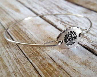 Tree Of Life Bangle Bracelet, Stackable Bracelet, Layered Bracelet, Bridesmaid Gift, Yoga Style, Yoga Jewelry, Stackable Jewelry, Bangle