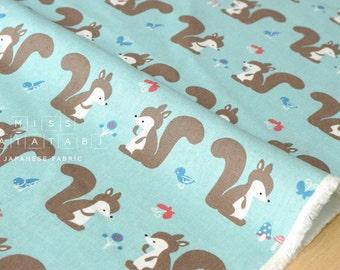 Japanese Fabric - Putidepome - squirrels - blue - 50cm