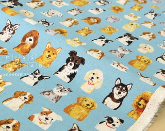 Japanese Fabric Kokka Animal World - dogs - blue - fat quarter