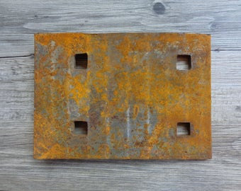 Vintage Salvage Rusty Steel Railroad Train Track Plate for Steampunk Repurpose Altered Art Crafts Industrial Display
