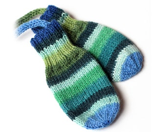 Baby Thumbless Mittens On a String. No Thumb Hand Knit Wool Mittens. Infant 3 to 6 Months. Kids Green Ombre Stripe Winter Handwarmers