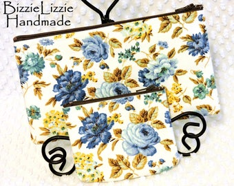Handmade Zipper Pouch Set of 2 in Vintage Blue and Brown Roses Fabric Purse Organizer Pouches