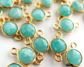 4 pcs 6mm Amazonite Blue Green Stone Tiny Gold Bezel Gemstone Connectors F391