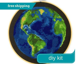 Earth Cross Stitch Kit DIY - Counted Cross Stitch Kit - Needlepoint Kit - DIY Kit - 8 Inches