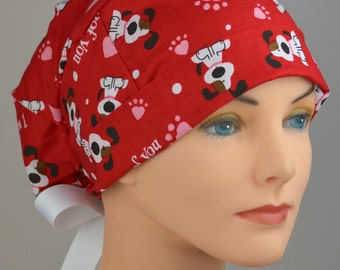 Scrub Hats // Scrub Caps // Scrub Hats for Women // The Hat Cottage // LARGE // Ribbon Ties // Valentine Puppies