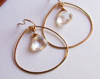 Petal Hoops with Crystal Quartz. Sterling hoop with gemstone.  Gemstone Hoops. Gold fill hoops with gemstone.