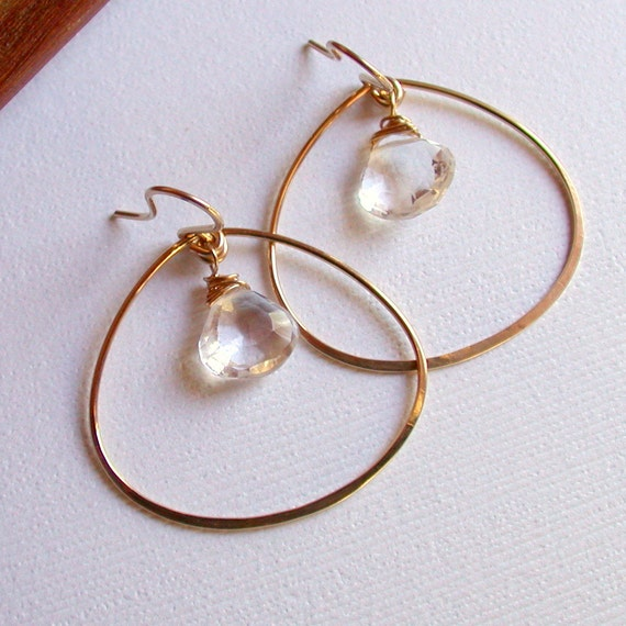 Petal Hoops with Crystal Quartz