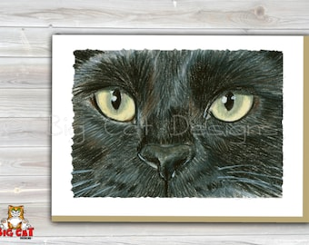 CAT CARD. Black Cat with Golden Eyes note card. 5x7 Framable Cat Art.  Black Cat Portrait.  Black Cat Art.