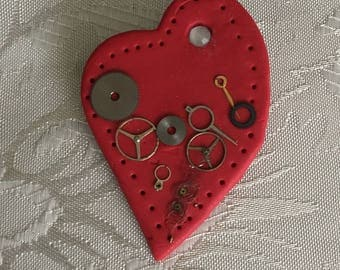 Steampunk Heart Pin/Brooch Polymer Clay Red