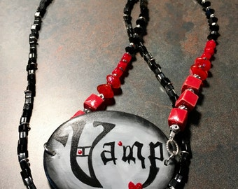 Hand Painted Handpainted VAMP Beaded Jewelry Necklace Red Black and Silver