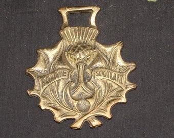 Vintage or Antique Bonnie Scotland Scottish Thistle, Horse Brass - Folk Magic, British, Pagan, - Rare