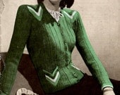 1940s  Ladies Cardigan Jacket Chevron Detail  PDF Vintage Knitting Pattern