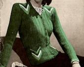 1940s  Ladies Cardigan Jacket Chevron Detail  PDF Vintage Knitting Pattern