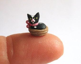 Miniature  1/4 scale Tuxedo Cat in Basket OOAK by C. Rohal