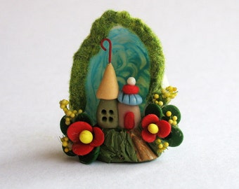 Miniature  Charming Whimsy Fairy House Colony Diorama in Tiny Sea Shell OOAK by C. Rohal