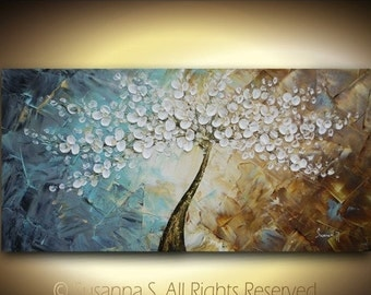 ORIGINAL Large Abstract Contemporary Fine Art Impasto White Flowers Tree Landscape Cherry Blossom Modern Palette Knife Painting by Susanna