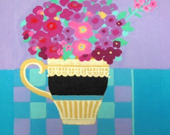 "An Original Acrylic Painting on Canvas - ""Black & White Teacup on Blue"""