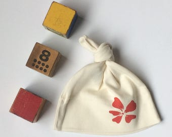 Stylized Hibiscus Organic Cotton Infant Hat- Block printed in Seattle