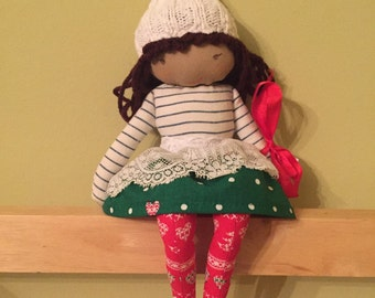 SYLVIA, a Christmas Kindness Elf from MiaLa Nordic Holiday Collection 2016. Brown haired softie girl doll.
