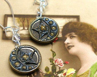 Blue Moon BUTTON earrings, Victorian STAR & crescent moon in silver. Antique button jewellery.