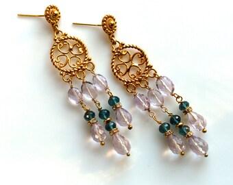 Pink Amethyst, London Blue Topaz Triple Drop Chandelier Earrings in 22kg Vermeil...