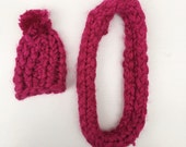SALE knitted hat and shawl  set magenta