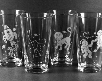 4 Pint Glasses -  your choice of custom etched designs