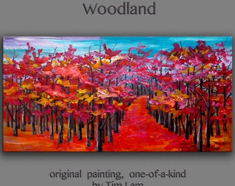Abstract Painting Original art large Oil Painting, aspen tree art fall Landscape Painting Changing Season by tim lam 48x24x1.3