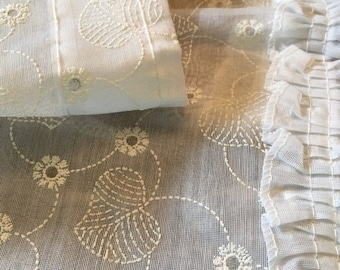 BIG SALE - Eyelet Curtains -Window Treatment -  Organdy Organza - White - Two Panels w Valance - Vintage Curtains NOS Nip - Sheer Curtains