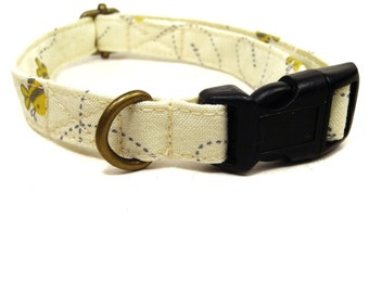 Bumblebee - Light Yellow Bees Spring Organic Cotton CAT Collar - All Antique Brass Hardware