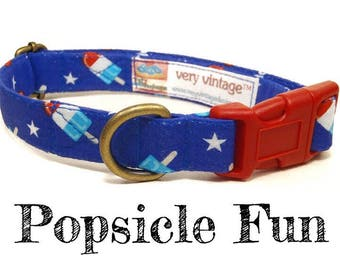 "Whimsical American Red White Blue Popsicle Playful Summer Fun Dog Collar - Antique Brass Hardware - ""Popsicle Fun"""