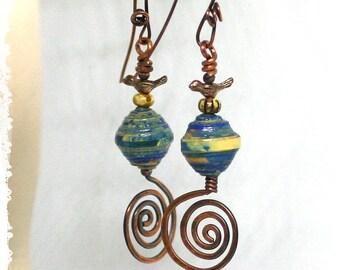 Bird earrings, Copper spiral statement earrings, Gypsy earrings, Bohemian earrings for women, Long dangle earrings for women,
